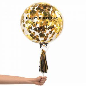 Bubble Balloon - Gold Round Confetti