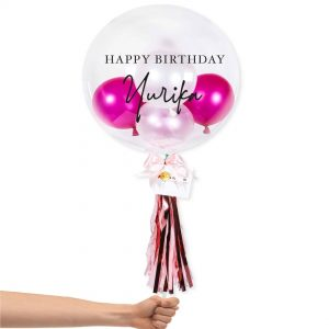 Bubble Balloon - Hot Pink and White